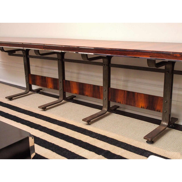 Metal Rosewood & Steel Console For Sale - Image 7 of 11