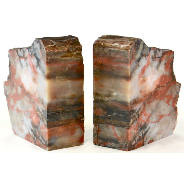 1980s Iron Red Petrified Wood Slice Bookends - A Pair For Sale - Image 5 of 8