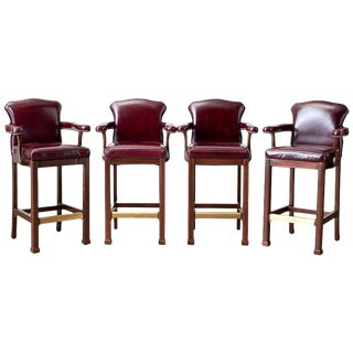 Set of Four Regency Style Cordovan Leather Mahogany Barstools For Sale