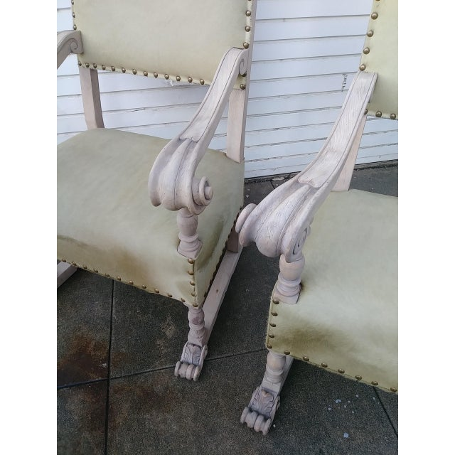 1920s Vintage Bleach Wood and Horse Skin Antique Chairs - a Pair For Sale - Image 4 of 12