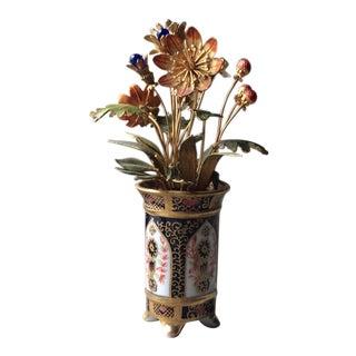 Vintage Jane Hutcheson Gorham Fleurs Des Siècles Imari Style Jeweled Enameled Flowers Vase For Sale