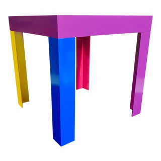 Memphis Inspired Jewel Tone Parsons Style Side Table For Sale