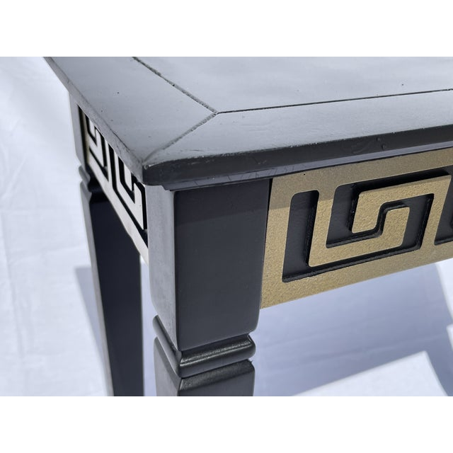 Mid-Century Modern Vintage Black and Gold Narrow Side Table For Sale - Image 3 of 12