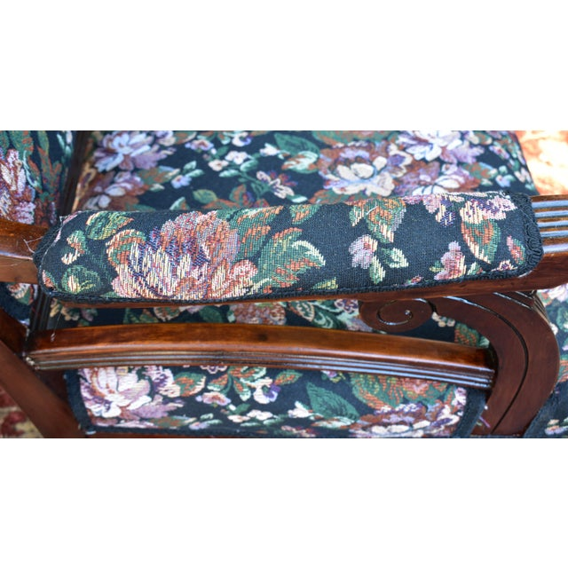 Brown 19th Century Antique Victorian Eastlake Mahogany Rocking Chair New Upholstery For Sale - Image 8 of 13