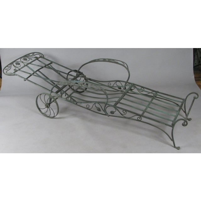 1950s Wrought Iron Chaise Lounges by Salterini, Circa 1950 - a Pair For Sale - Image 5 of 9