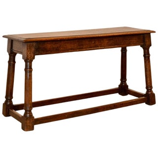 19th Century English Oak Bench For Sale