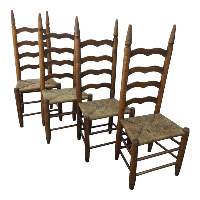 Primitive Lodge Ladder Back Chairs- Set of 4 - Image 1 of 5