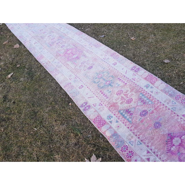 "Distressed Turkish Oushak Runner Rug - Low Pile Herki Rug 2'7"" X 13'4"" For Sale - Image 4 of 13"