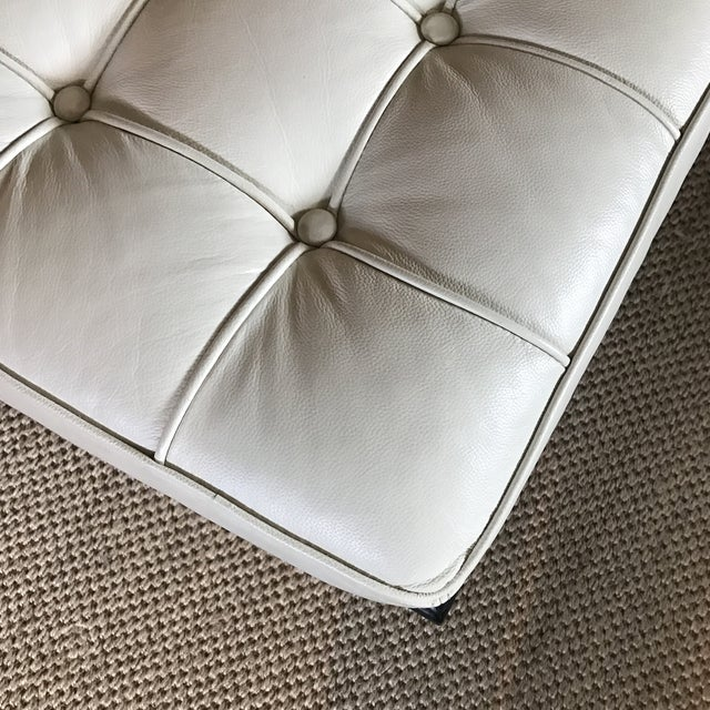 Vegan Leather Barcelona Style Daybed With Round Bolster Pillow For Sale - Image 9 of 12