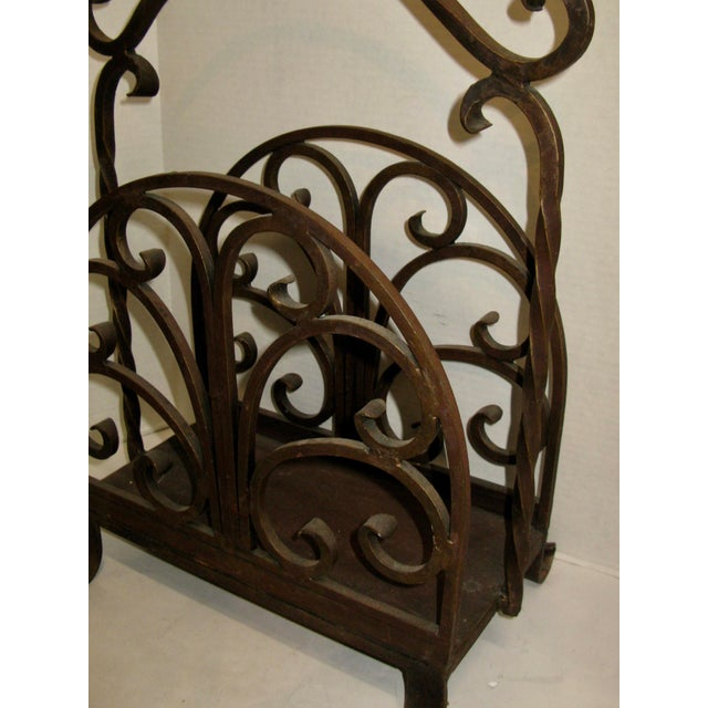 Old Heavy Cast Iron Log/Magazine Rack For Sale - Image 9 of 9