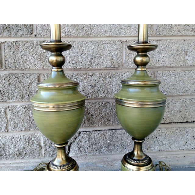 1950s Vintage Rembrandt Brass & Green Enamel Hollywood Regency Table Lamps With Diffuser - a Pair For Sale - Image 5 of 13