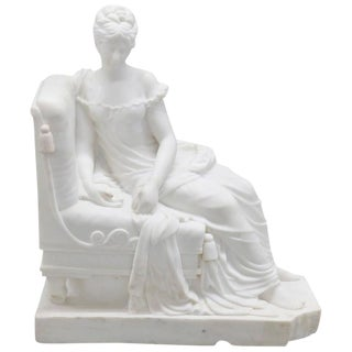 Carrara Marble Statue of Lounging Maiden For Sale