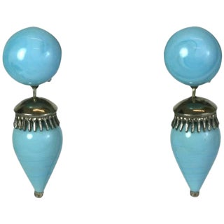 Louis Rousselet Faux Turquoise Drop Earrings For Sale