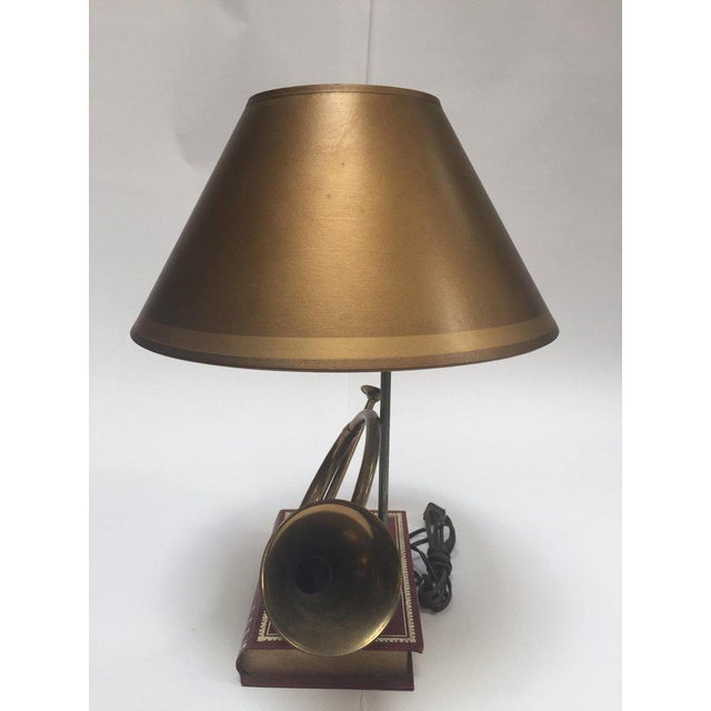 Vintage Brass Looped Hunter's Horn Bugle Made Into a Table Lamp by Robert Abbey For Sale - Image 12 of 13