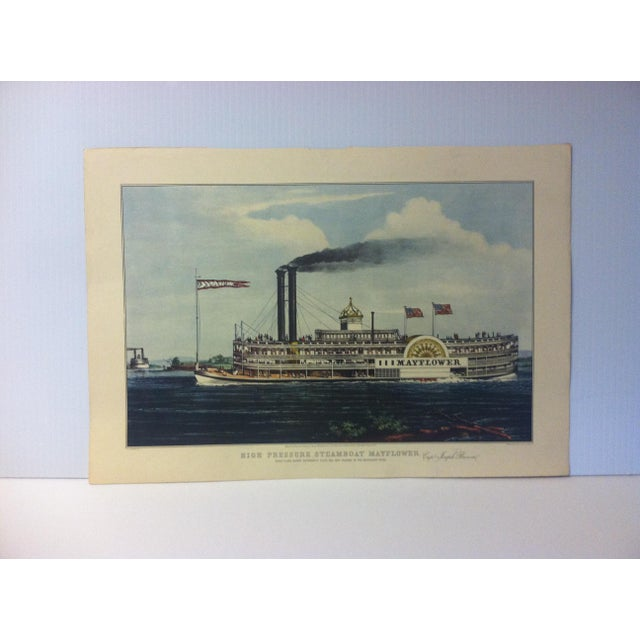 "Currier & Ives Color Print, ""High Pressure Steamboat - Mayflower"", 1954 For Sale - Image 4 of 4"