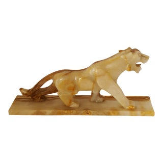 Carved Marble Panther Sculpture For Sale