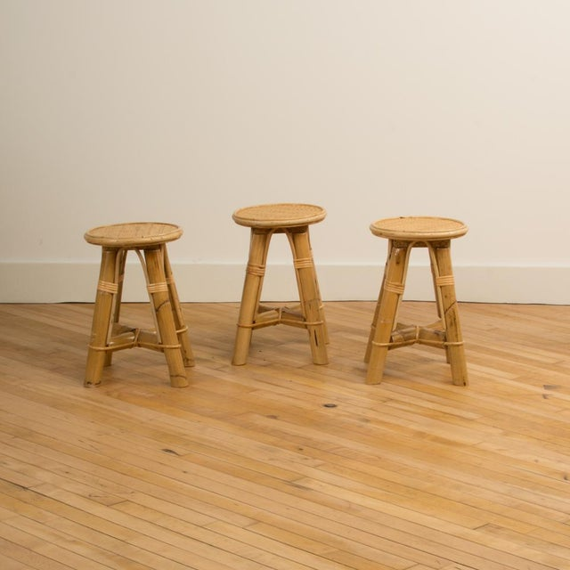 Modern Bamboo and Rattan Stool For Sale In Philadelphia - Image 6 of 10