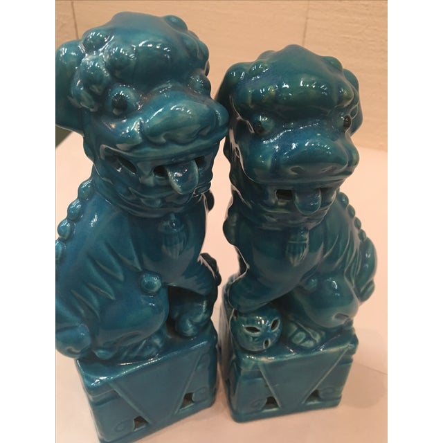 Mismatched Turquoise Foo Dogs - Pair For Sale - Image 6 of 6