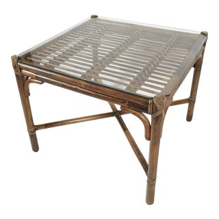Bamboo Table With Inset Glass Top by McGuire For Sale