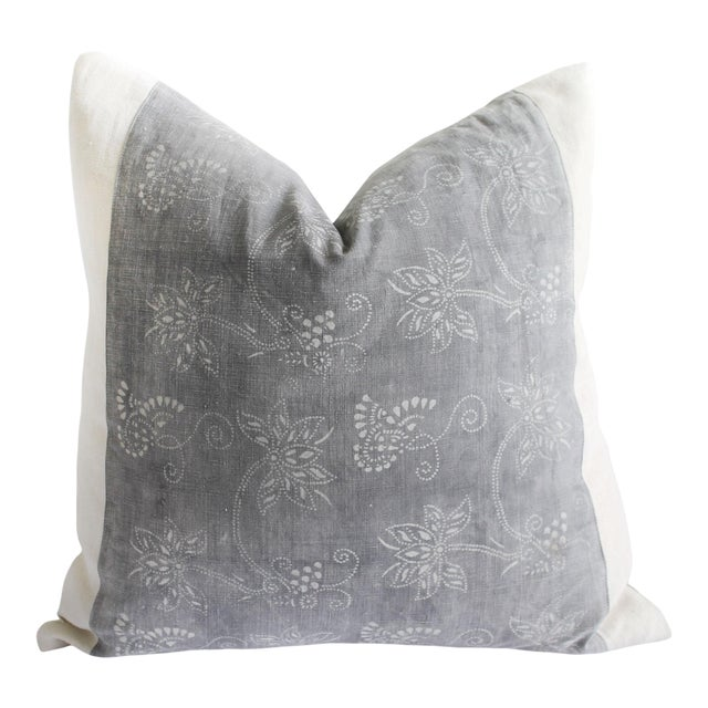 Vintage Tribal Gray and Natural Textile Pillow For Sale
