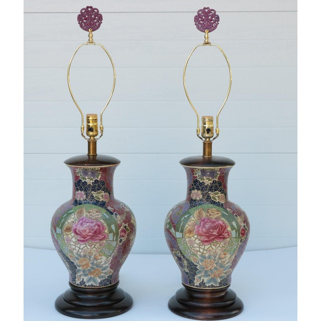 Frederick Cooper Mosaic Chinoiserie Table Lamps - a Pair For Sale - Image 4 of 8