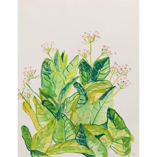 Acrylic Painting, Green Tobacco Leaves and Blossoms For Sale