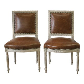 19th Century Louis XVI Style Leather Upholstered Side Chairs - a Pair
