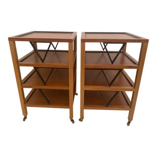 Midcentury Modern Square 4 Tier Ebony & Fruitwood End Side Tables -A Pair For Sale