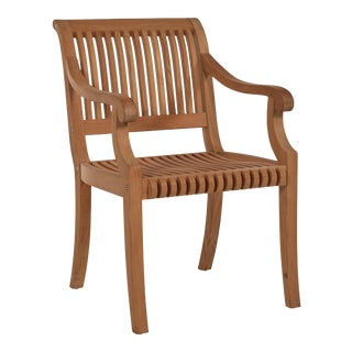 Palm Teak Outdoor Armchair For Sale