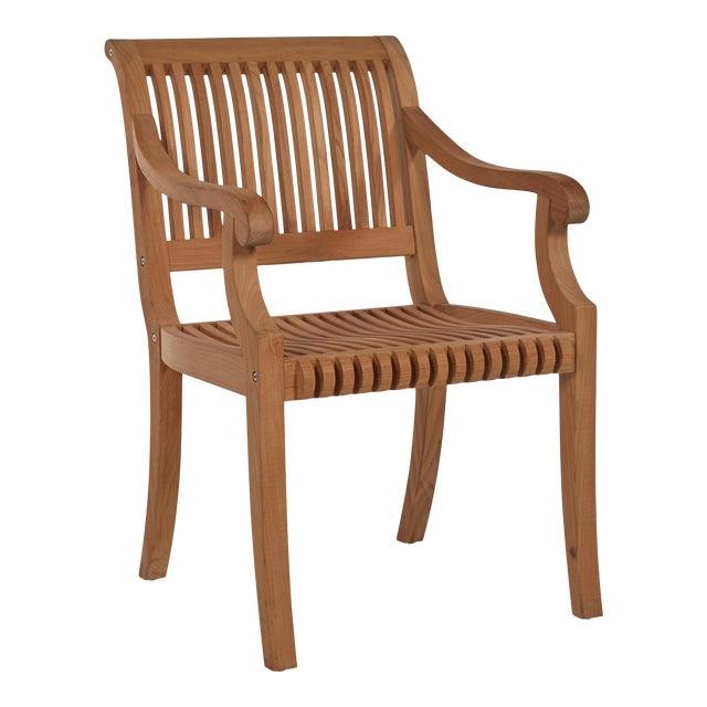 Palm Teak Outdoor Armchair For Sale