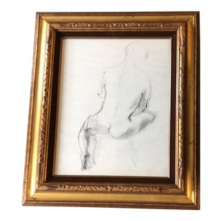 Original Vintage Male Nude Charcoal Study Drawing 1970's Framed For Sale