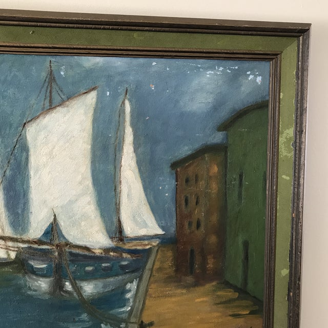 Vintage Twilight Sailboat Painting For Sale In Los Angeles - Image 6 of 10