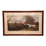 "Image of Large 19th Century English Framed Watercolor Fox Hunt Scene ""The Hill"" For Sale"