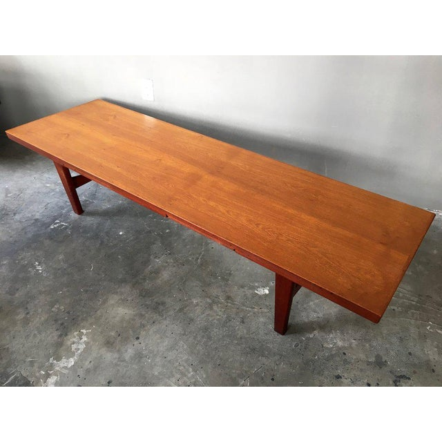 Danish Modern Coffee Table Bench W/ Slide Out Trays - Image 3 of 7