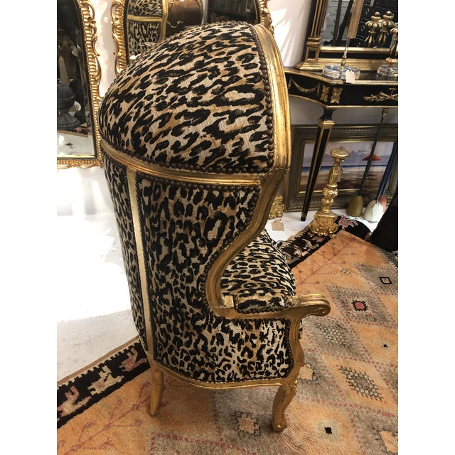 18th Century Antique French Louis XV Porter Child or Pet Chair With Leopard & Rivet Upholstery. Hand-carved giltwood...