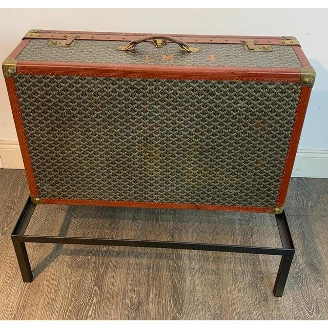 Vintage Goyard Hardcase Trunk on Iron Stand For Sale - Image 9 of 13
