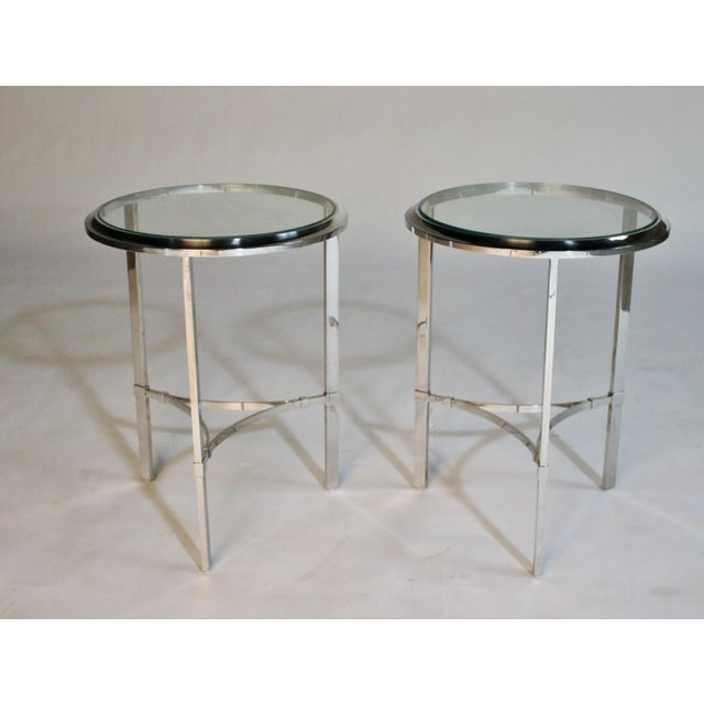 Hollywood Regency Maison Jansen Style Steel Side Tables For Sale - Image 3 of 12