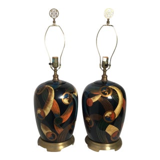 1980s Maitland Smith Hand Painted Modern Style Lamps - A Pair For Sale