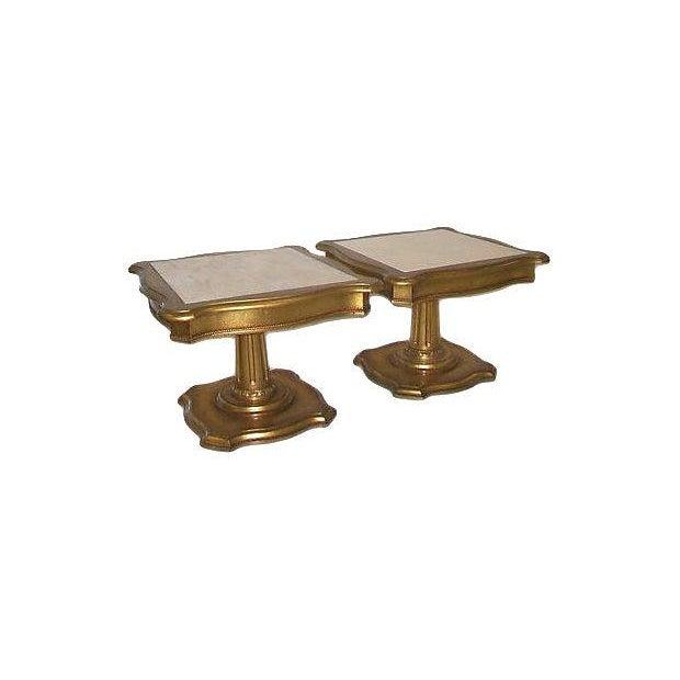 Hollywood Regency Marble Top End Tables - Pair - Image 3 of 3