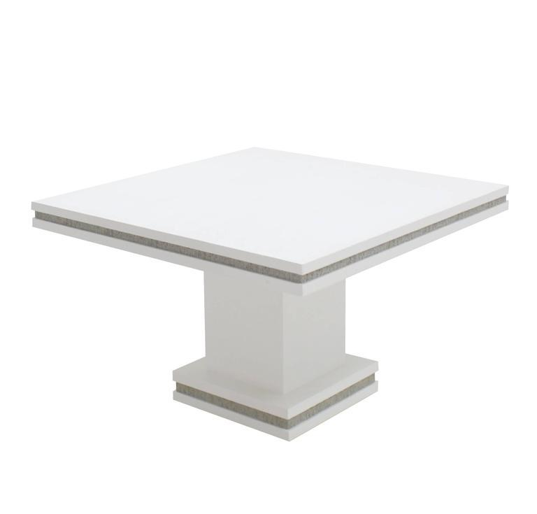 Pair Of White Lacquered Grass Cloth Square Game Tables   Image 7 Of 8