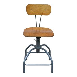 Vintage Mid Century Adjustable Industrial Drafting Stool Artist Work Chair For Sale