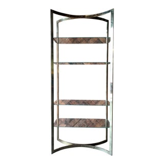 Vintage Brass Etagere With Glass Shelves