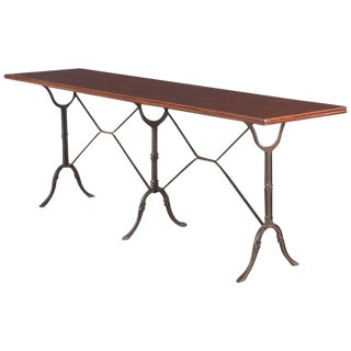 French Iron Base Bistro Table with Lacquered Wooden Top, 1920s