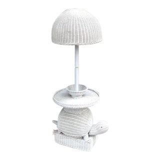 1960s White Wicker Turtle Floor Lamp For Sale