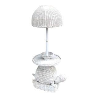 1960s White Wicker Turtle Floor Lamp For Sale