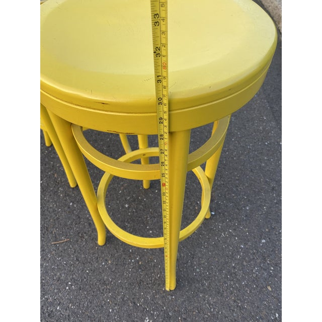 1970s Thonet Tall Yellow Bar Stools - a Pair For Sale In Philadelphia - Image 6 of 8