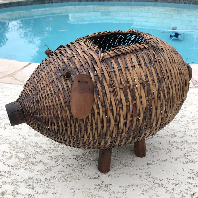 Mid Century Bamboo and Wicker Pig Basket For Sale - Image 12 of 13