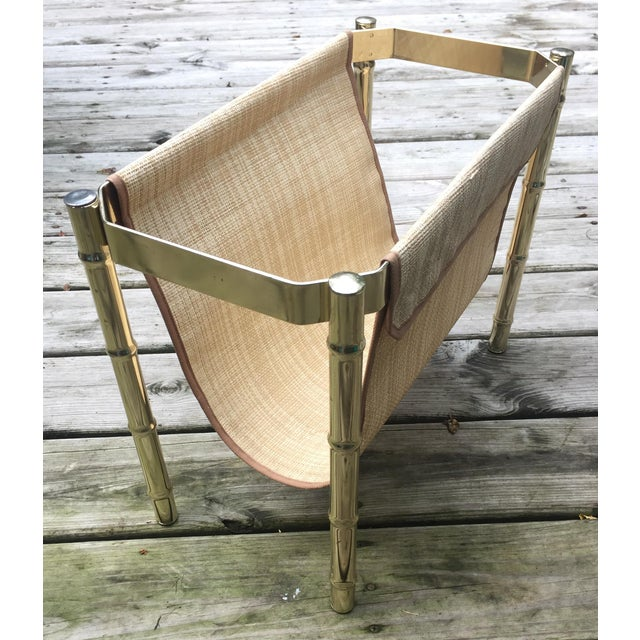 Brass Faux Bamboo Magazine Rack For Sale In Milwaukee - Image 6 of 9