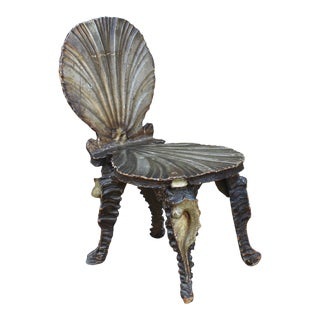 19th Century Italian Carved Wood Grotto Chair For Sale