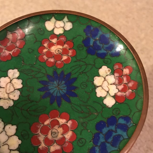 Blue Chinese Enamel Cloisonné Tray For Sale - Image 8 of 10